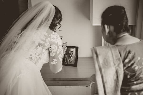 bride and her mother honoring her late father