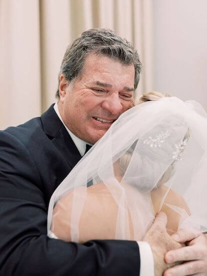 emotional father of the bride seeing his daughter for the first time