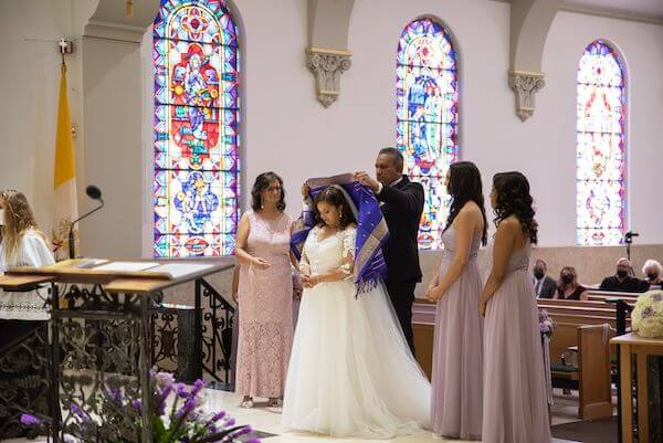 Catholic wedding ceremony with South Asian influences