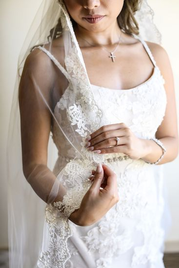 beautiful lace detail of Tarpon Spring brides attire
