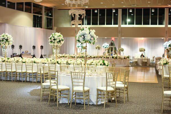Luxurious Tarpon Springs wedding decor in gold, white and soft pink