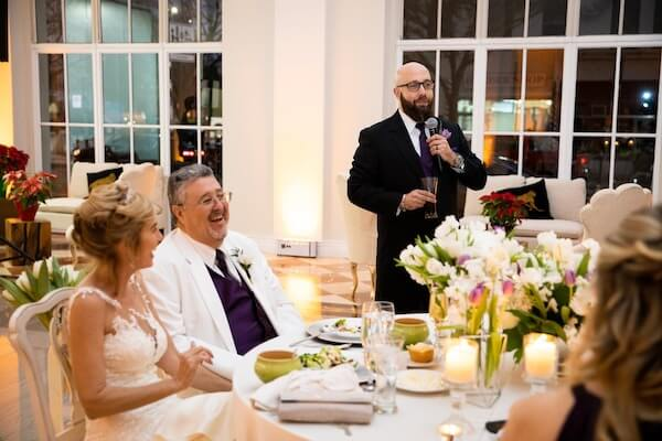 best man making toast at an intimate Tampa wedding at The Vault