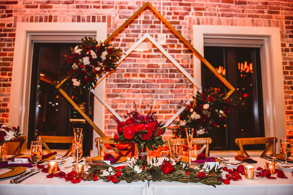 burgundy and gold wedding reception at Red Mesa in Downtown St Pete