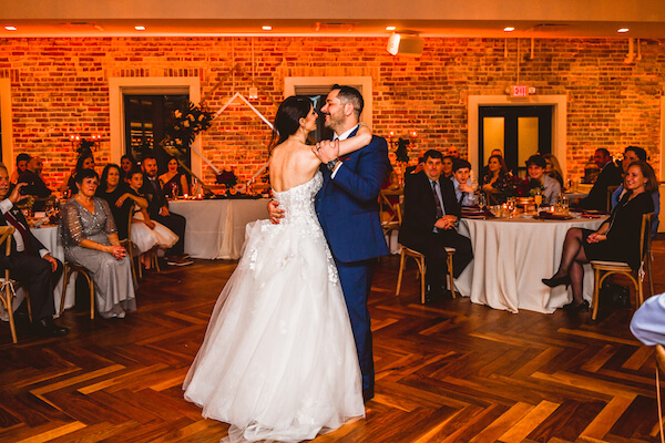 bride and groom's first dance at Red Mesa in Downtown St Pete