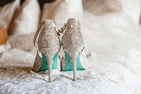 amazing rhinestone encrusted wedding shoes