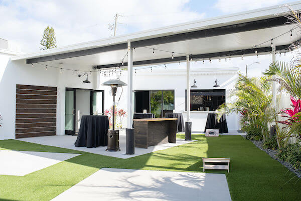 The outdoor patio and event space at The West Events