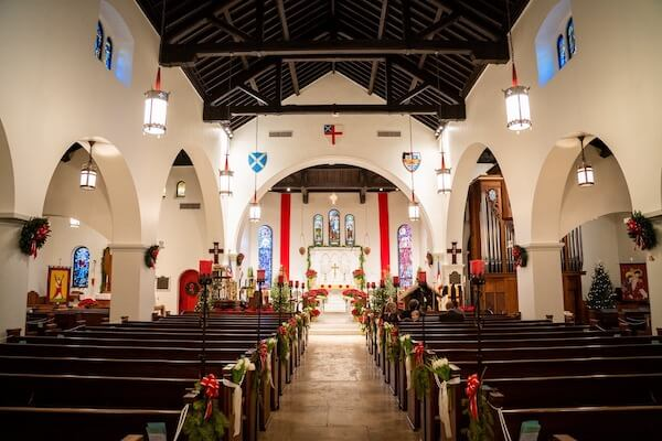 Saint Andrew's Episcopal Church in Tampa decorated for a Christmas wedding