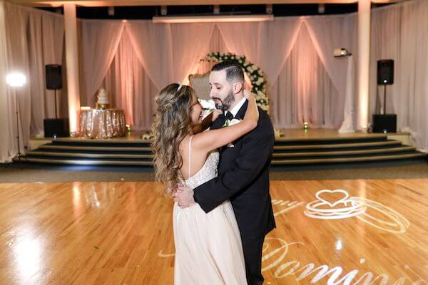bride and groom during their first dance at their luxurious Tarpon Springs wedding reception