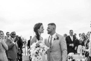 bride and groom on the sky terrace at the Hyatt Regency Clearwater Beach