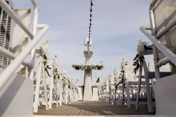 view of wedding ceremony preparations on the Yacht StarShip's upper deck