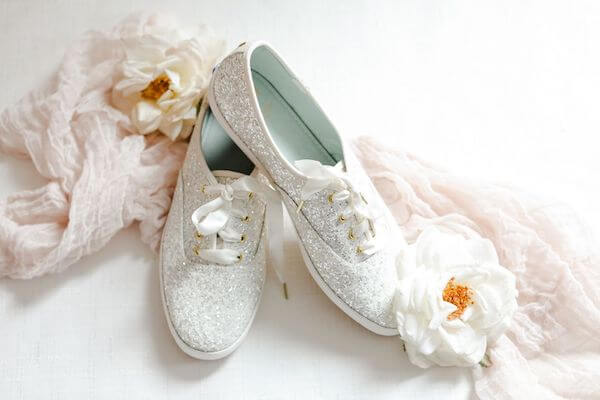 sparkling flat bridal shoes for her wedding aboard the Yacht Starship in Tampa
