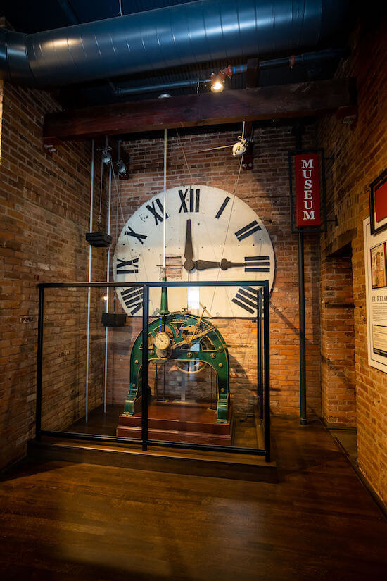 weight driven clock in the lobby of the JC Newman Cigar Co event space in Tampa