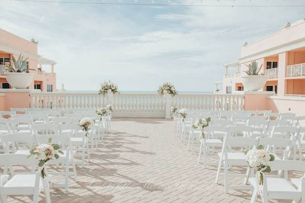 sky terrace at the Hyatt Clearwater Beach set for a wedding ceremony