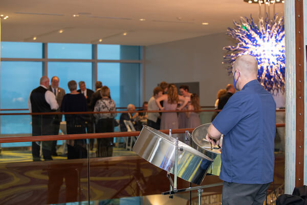 man playing steel drums during an Opal Sands Resort cocktail reception
