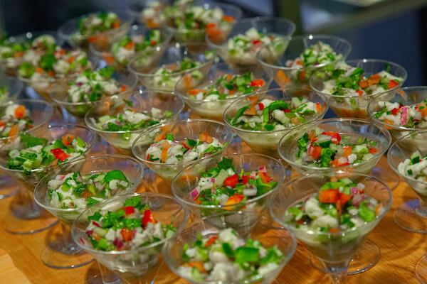 Individual seafood ceviche at an Opal Sands Resort wedding reception