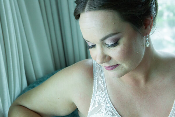portrait of a Clearwater Beach bride before her fist look