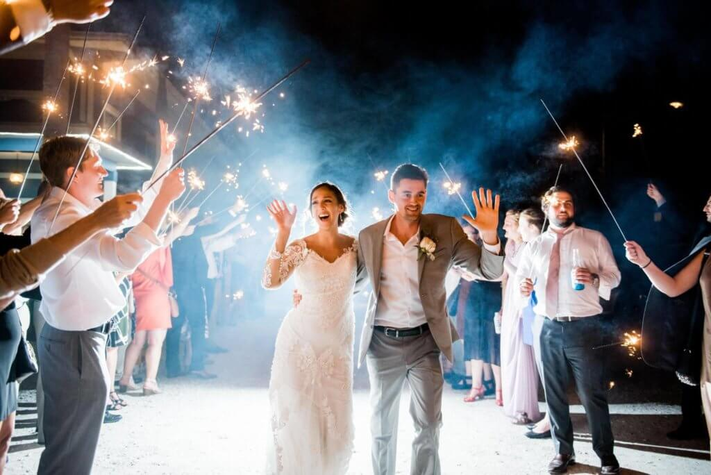bride and groom's sparkler exit at Tampa Bay watch