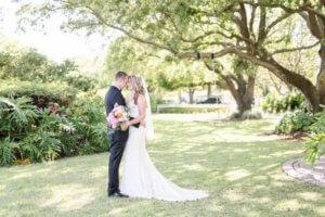 Bride and groom in the gardens at Davis Island Garden Club