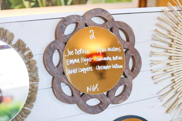 close up of a rustic seating chart made by bride and father