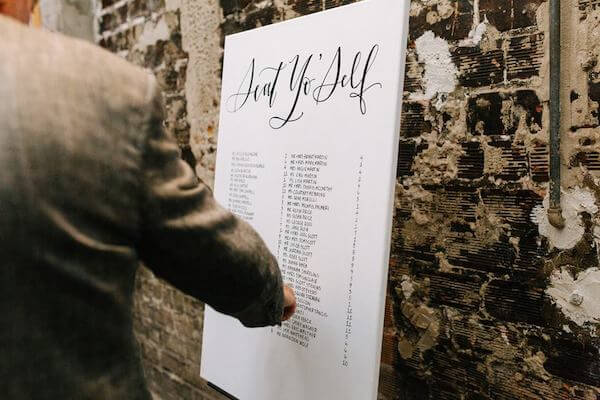 wedding guests looking to find table assignment on a seating chart