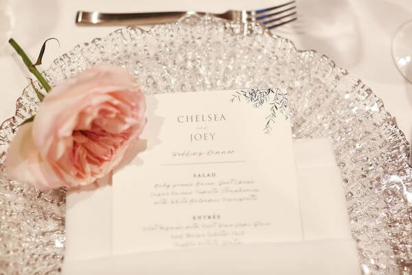 sea glass charge plate with custom menu card and a pink rose