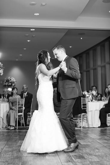 """bride and groom during their first dance to """"Speechless"""" by Dan and Shay"""