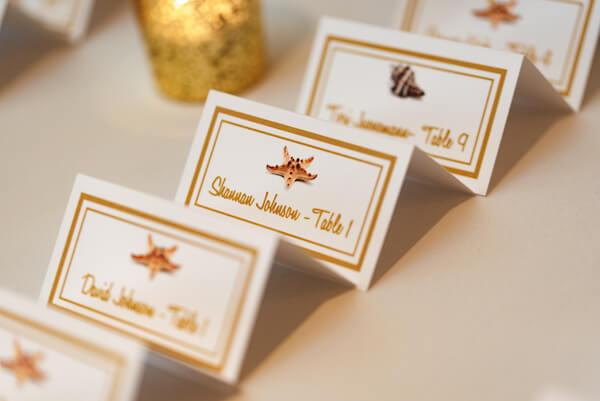 wedding escort cards with a starfish design