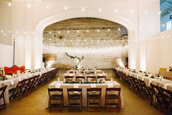 Long tables set for wedding receptions