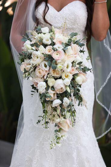 lush blush and white cascading bridal bouquet
