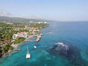 drone view of the Sandals Ochi Beach Club Resort in Ochi Rios Jamaica