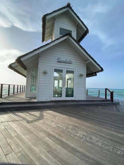 Sandals over water wedding chapel