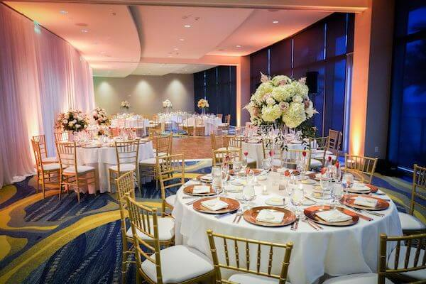gold and blush wedding reception at the Opal Sands Resort on Clearwater Beach