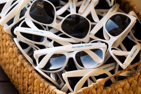 custom wedding sunglasses with couples names and wedding date
