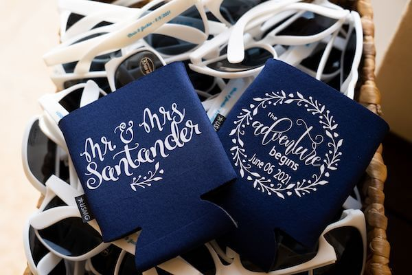 custom drink doozies with couples names and wedding date