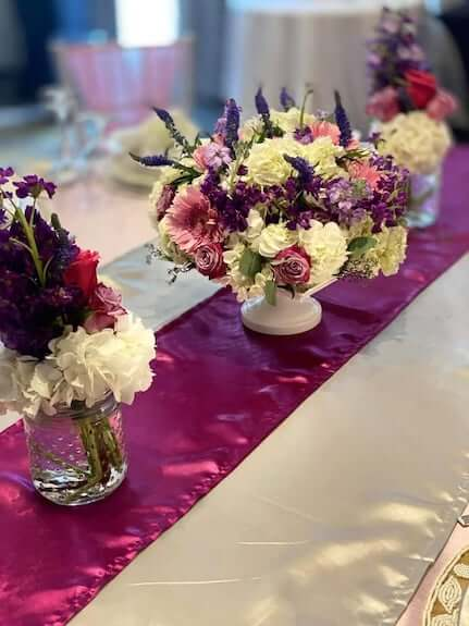 table runner and centerpieces at a Sandals Destination wedding
