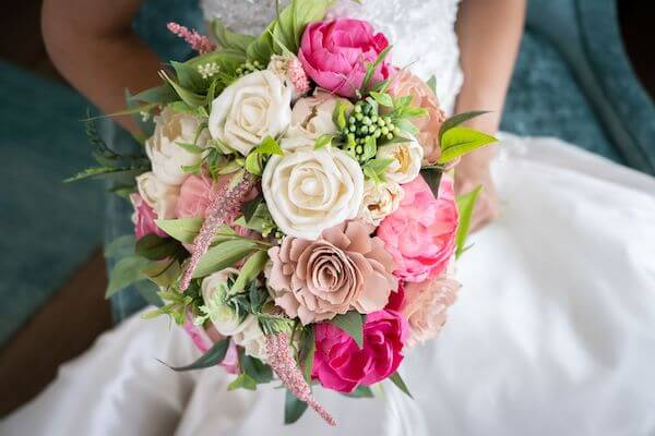 beautiful bridal bouquet in shade of pink and white