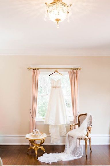 brides wedding gown and accessories in the 2nd floor ready room