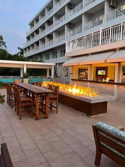 Bar with fire-it at Sandals Ochi Rios Beach Club