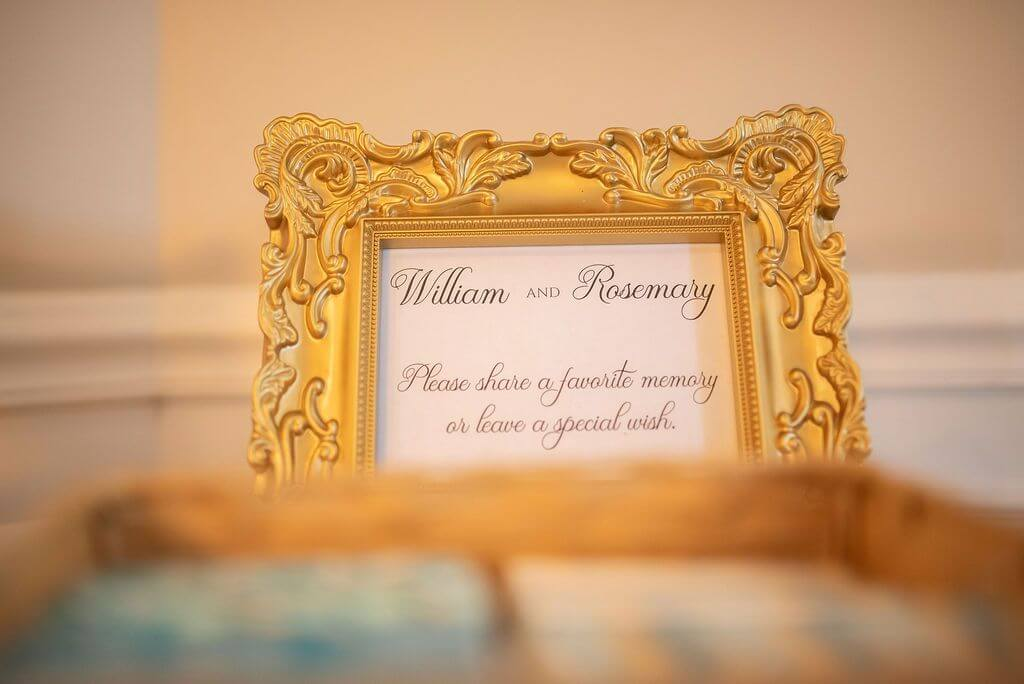 signage for a 50th wedding anniversary celebration