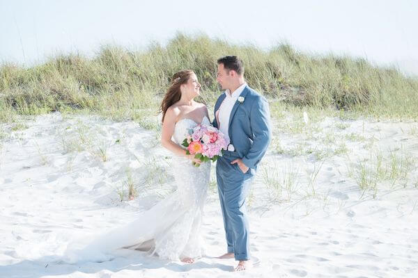 bride and groom on Clearwater beach