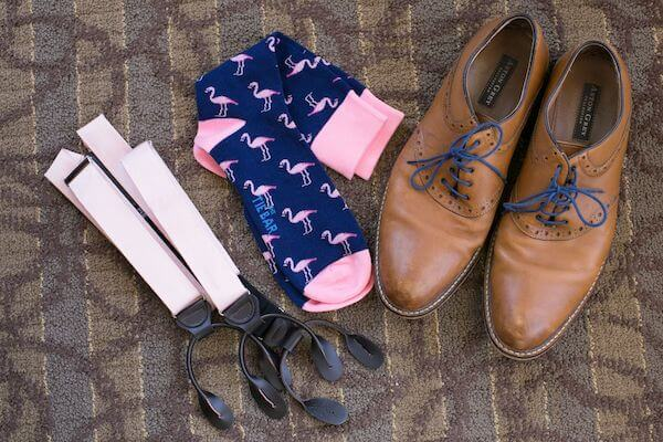 grooms pink flamingo sock with shoes and pink suspenders